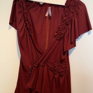 Maroon Anthropologie Top Large